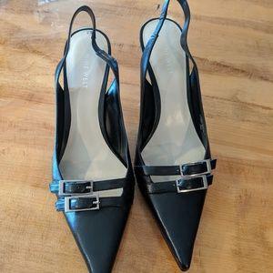 Nine West Nightngaleo black leather heels new 10